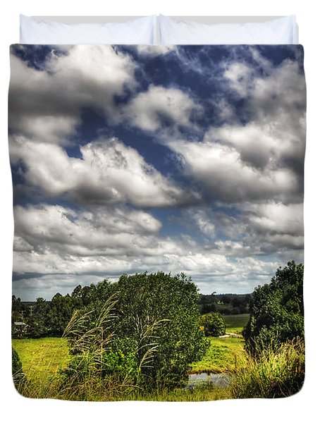 Clouds Floating Over Green Countryside Duvet Cover by Kaye Menner