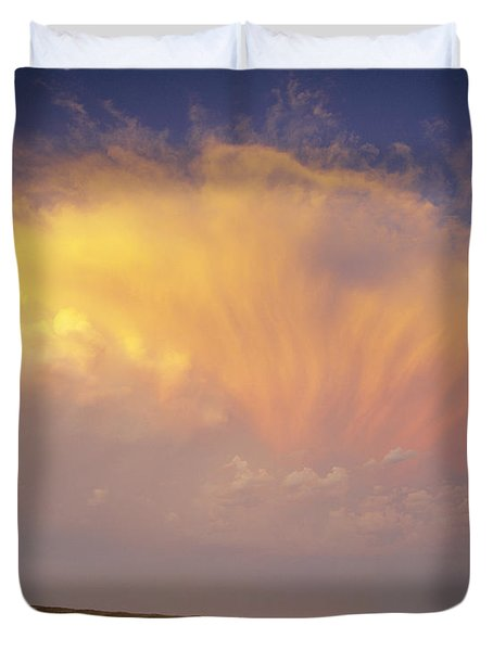 Clouds Over Canola Harvest, Saint Duvet Cover by Yves Marcoux