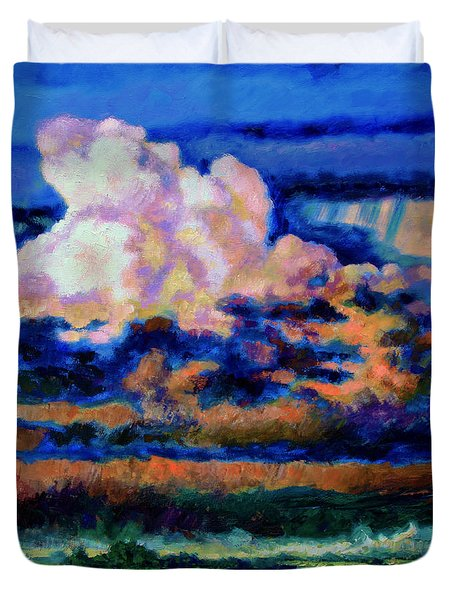 Clouds Over Country Road Duvet Cover by John Lautermilch