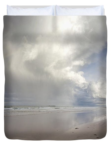 Clouds Reflected In The Shallow Water Duvet Cover by John Short