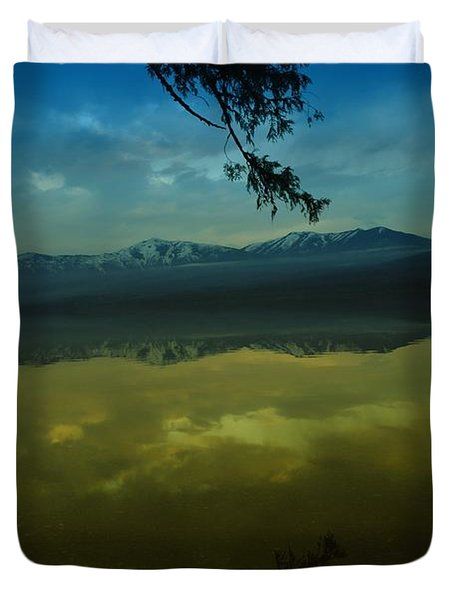 Clouds Trying To Dance In Still Water Duvet Cover by Jeff Swan