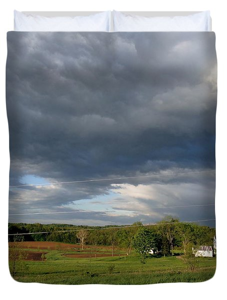 cloudy with a Chance of Paint 2 Duvet Cover by Trish Hale