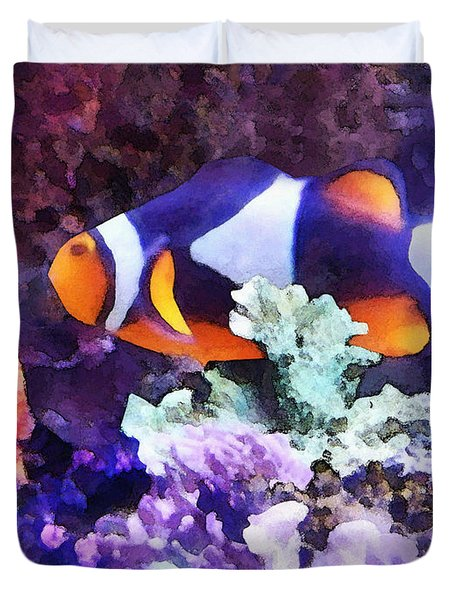 Clownfish And Coral Duvet Cover by Susan Savad