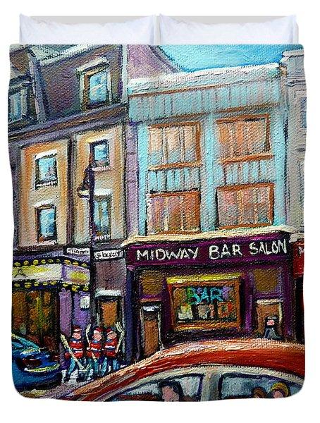 Club Soda Nightclub Duvet Cover by Carole Spandau