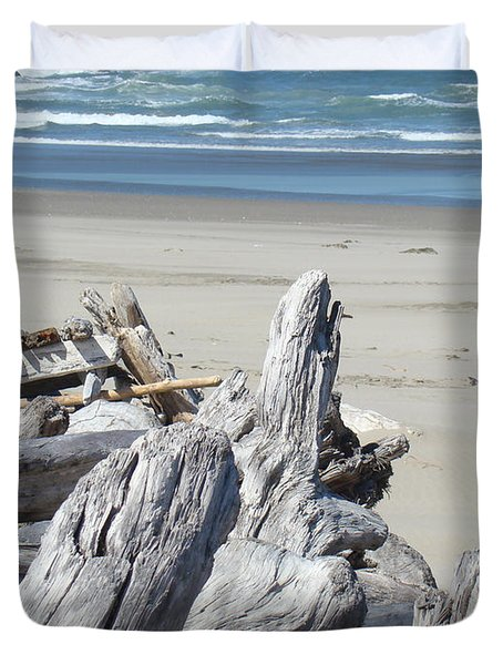 Coastal Driftwood Art Prints Blue Waves Ocean Duvet Cover by Baslee Troutman