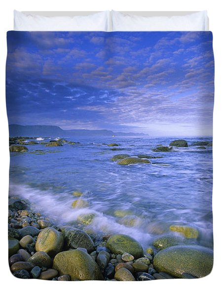 Coastline And Waves, Gros Morne Duvet Cover