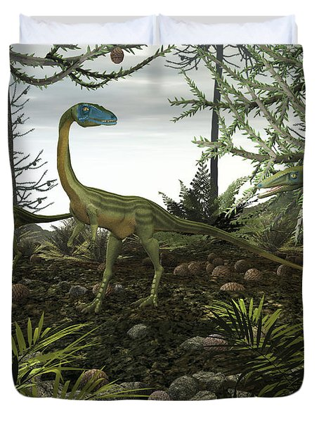 Coelophysis Dinosaurs Walk Amongst Duvet Cover by Walter Myers