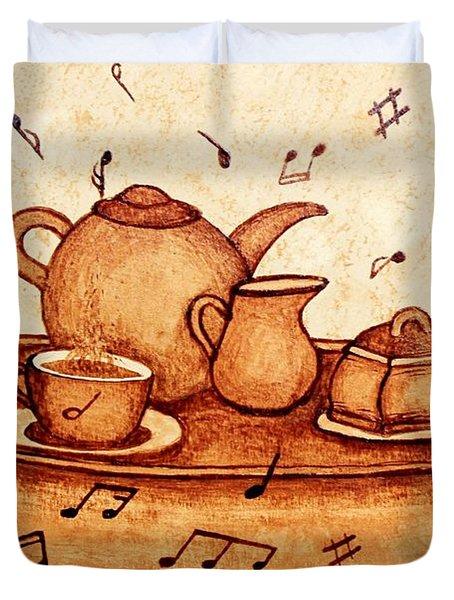 Coffee Break 2 Coffee Painting Duvet Cover by Georgeta  Blanaru
