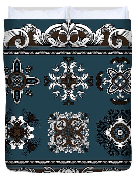 Coffee Flowers Ornate Medallions 6 Piece Collage Mediterranean Duvet Cover by Angelina Vick