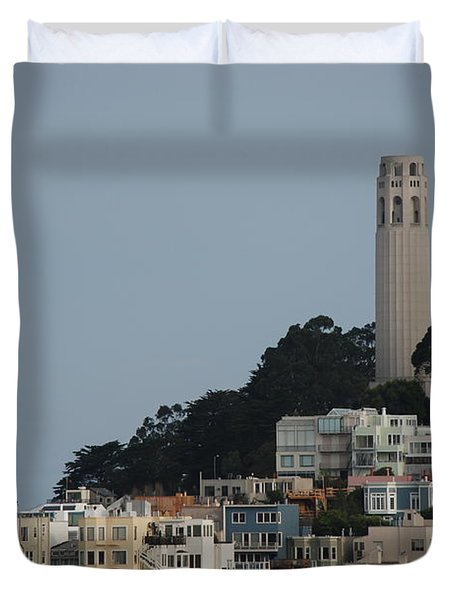Duvet Cover featuring the photograph Coit Tower by Eric Tressler