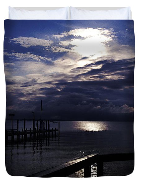 Duvet Cover featuring the photograph Cold Night On The Water by Clayton Bruster
