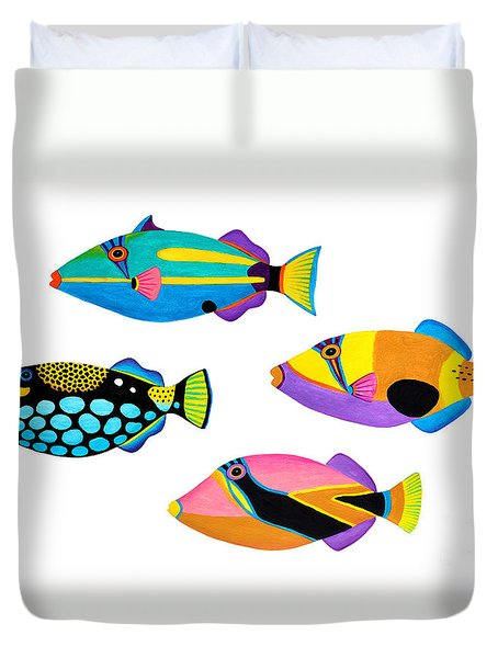 Collection Of Trigger Fishes Duvet Cover by Opas Chotiphantawanon
