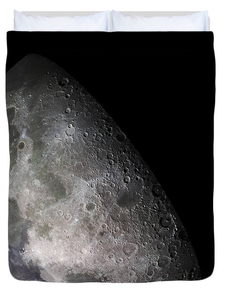 Color Mosaic Of The Earths Moon Duvet Cover by Stocktrek Images