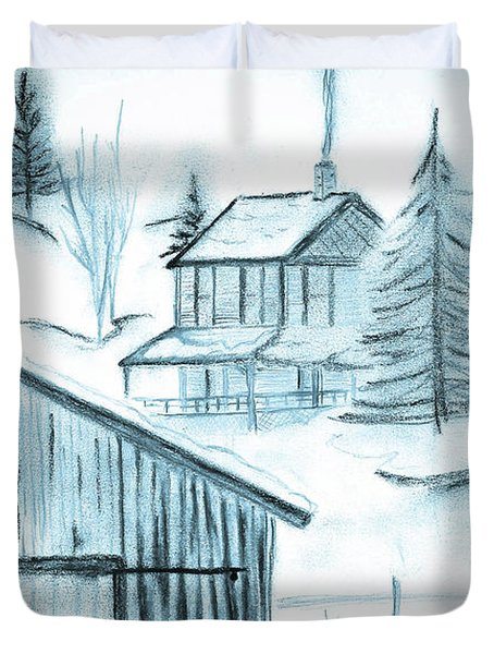Duvet Cover featuring the drawing Colorado Farm by Shannon Harrington