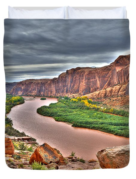 Colorado River Flows Through A Stormy Moab Portal Duvet Cover