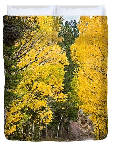 Colorado Rocky Mountain Aspen Road Portrait  Duvet Cover