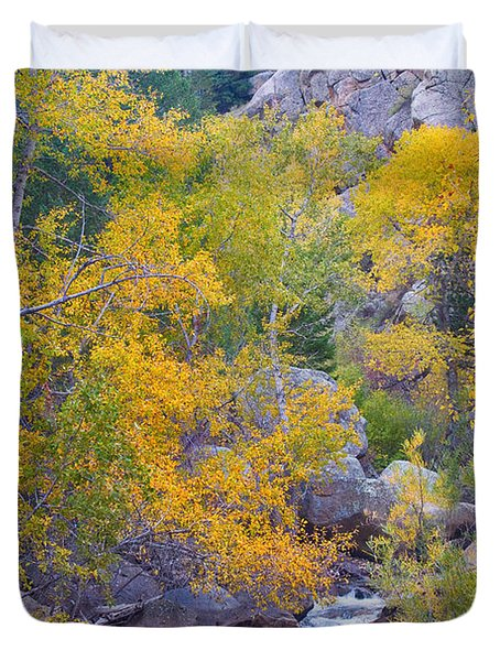 Colorado Rocky Mountain Autumn Canyon View Duvet Cover