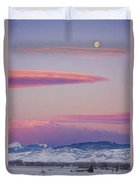 Colorado Winter Moon And Sunrise Duvet Cover by James BO  Insogna