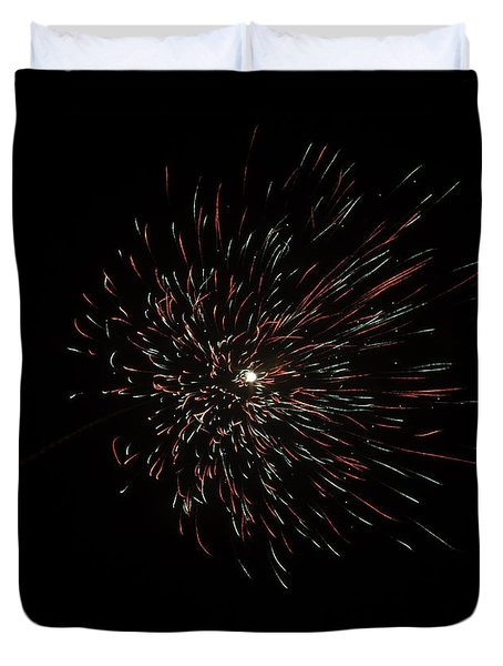 Colorful Burst Of Firecrackers High In The Sky Duvet Cover by Ashish Agarwal