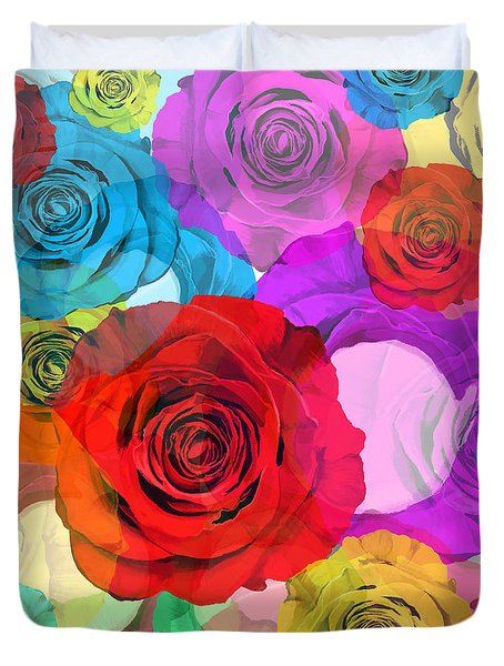 Colorful Floral Design  Duvet Cover by Setsiri Silapasuwanchai
