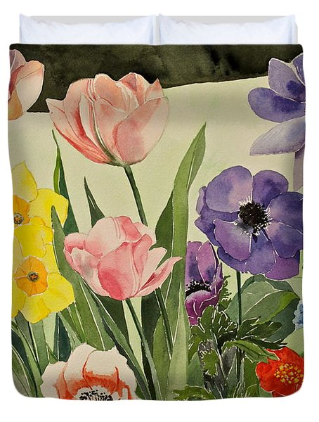 Colorful Flowers-posthumously Presented Paintings Of Sachi Spohn  Duvet Cover