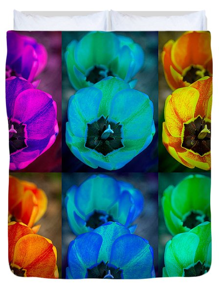 Colorful Tulip Collage Duvet Cover by James BO  Insogna