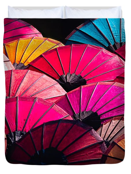 Duvet Cover featuring the photograph Colorful Umbrella by Luciano Mortula