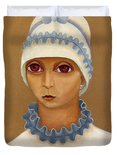 Colorful Young Woman Brown Eyes Blue White Hat Collar  With Ribbon Small Lips Duvet Cover