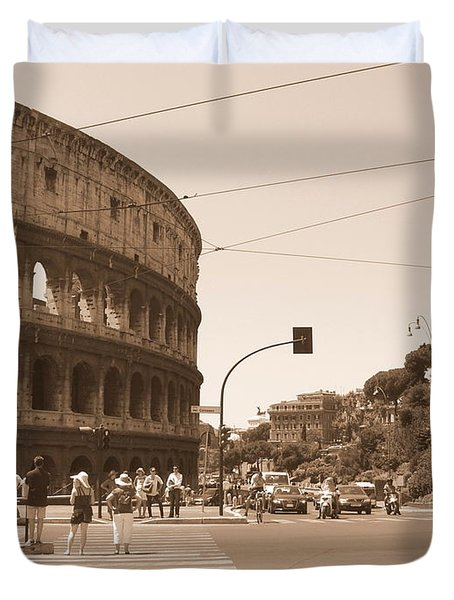 Colosseum In Sepia Duvet Cover