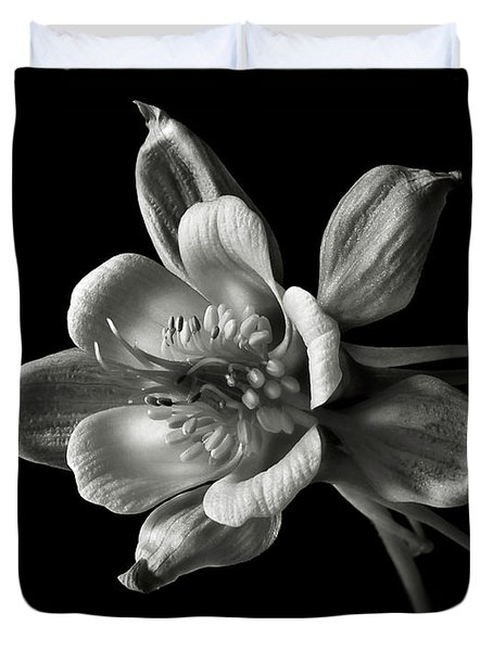 Columbine In Black And White Duvet Cover by Endre Balogh