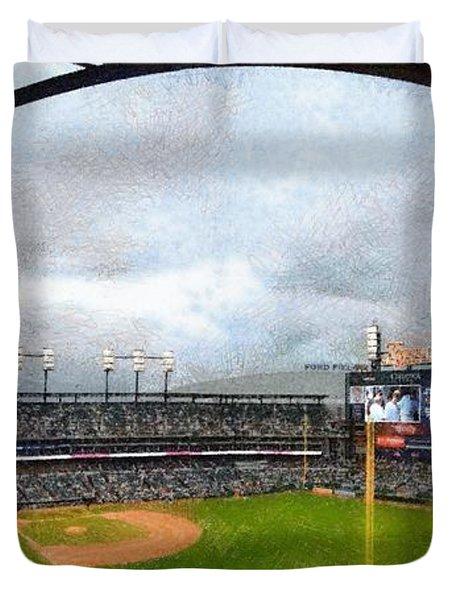 Comerica Park Home Of The Detroit Tigers Duvet Cover by Michelle Calkins