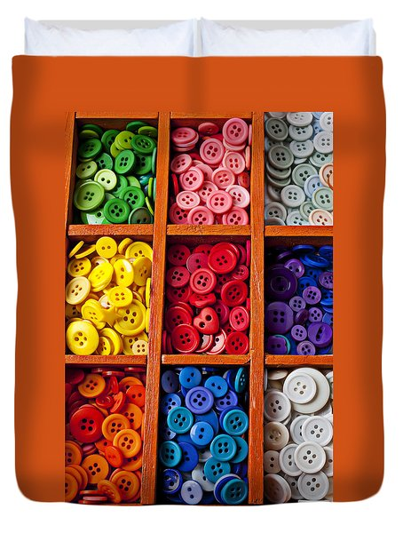 Compartments Full Of Buttons Duvet Cover by Garry Gay