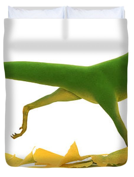 Compsognathus Duvet Cover by Jane Burton and Warren Photographic and Photo Researchers