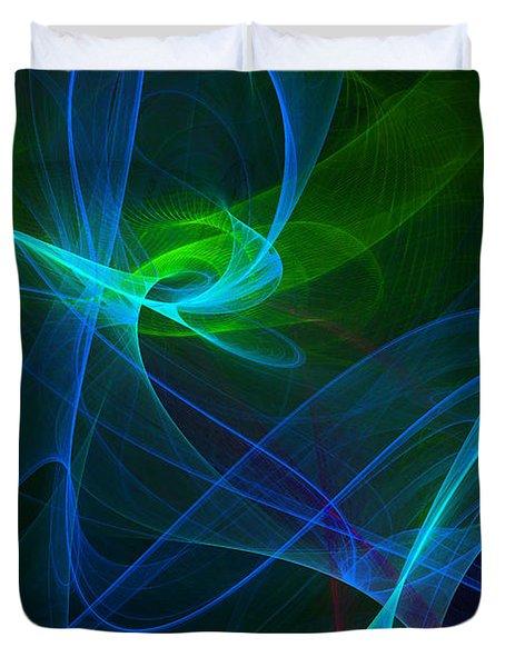 Computer Generated Green Blue Abstract Fractal Flame Modern Art Duvet Cover