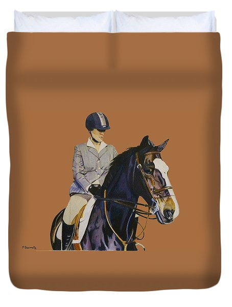 Concentration - Hunter Jumper Horse And Rider Duvet Cover
