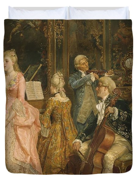 Concert At The Time Of Mozart Duvet Cover by Ettore Simonetti