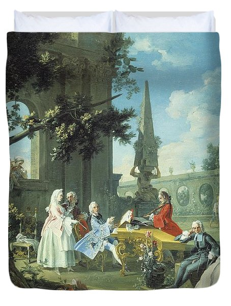 Concert In A Garden Duvet Cover by Filippo Falciatore