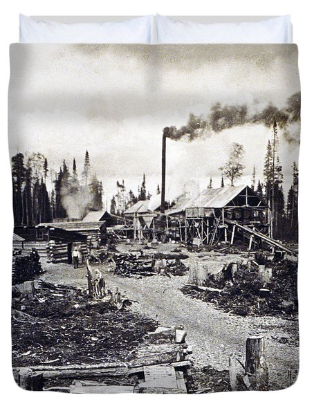 Concord New Hampshire - Logging Camp - C 1925 Duvet Cover by International  Images