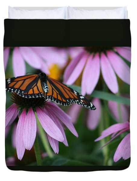 Duvet Cover featuring the photograph Cone Flowers And Monarch Butterfly by Kay Novy