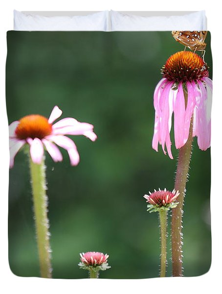 Coneflowers And Butterfly Duvet Cover