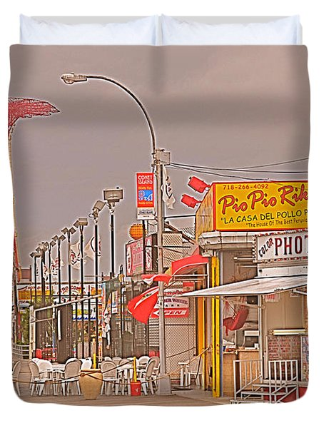 Coney Island Boardwalk Duvet Cover