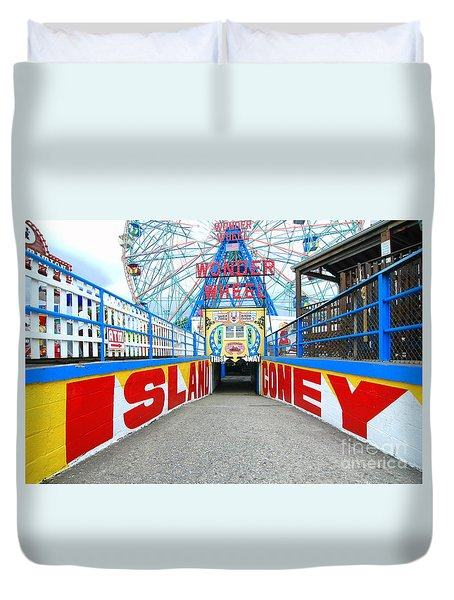 Coney Island Sign Duvet Cover by Mark Gilman