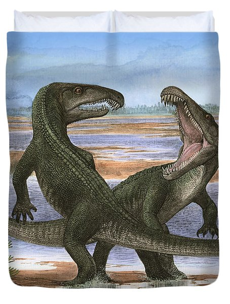 Confrontation Between Two Prehistoric Duvet Cover by Sergey Krasovskiy