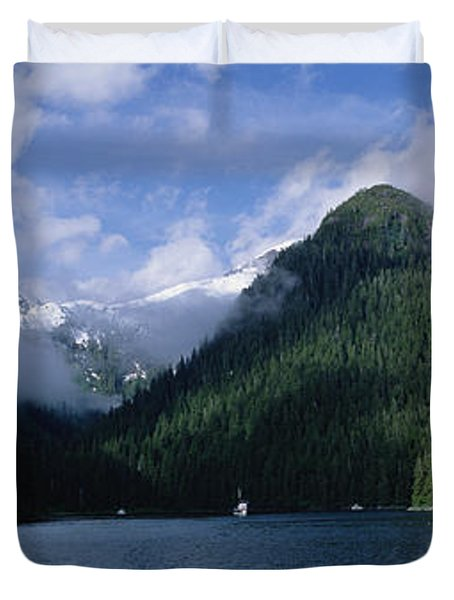 Conifer-covered Coastline Of Warm Duvet Cover by Konrad Wothe