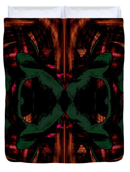 Conjoint - Copper And Green Duvet Cover by Christopher Gaston