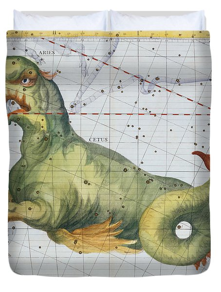 Constellation Of Cetus The Whale Duvet Cover by James Thornhill