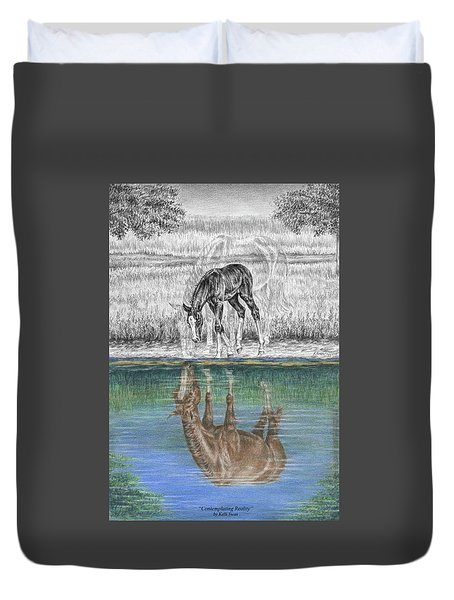 Contemplating Reality - Mare And Foal Horse Print Duvet Cover