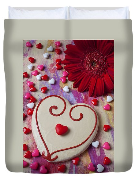 Cookie And Candy Hearts Duvet Cover by Garry Gay
