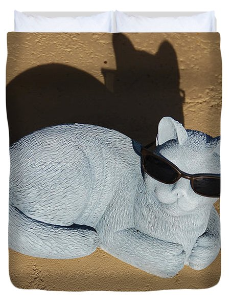Duvet Cover featuring the photograph Cool Cat by Aimee L Maher Photography and Art Visit ALMGallerydotcom