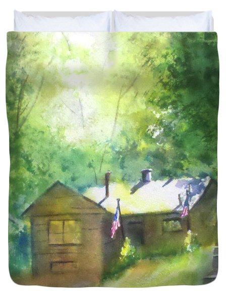 Cool Colorado Cabin Duvet Cover by Debbie Lewis